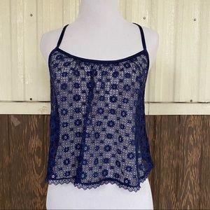 Victoria Secret cami lace croptop navy size S